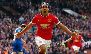 Radamel Falcao celebrates scoring against Everton, his first goal for Manchester United.